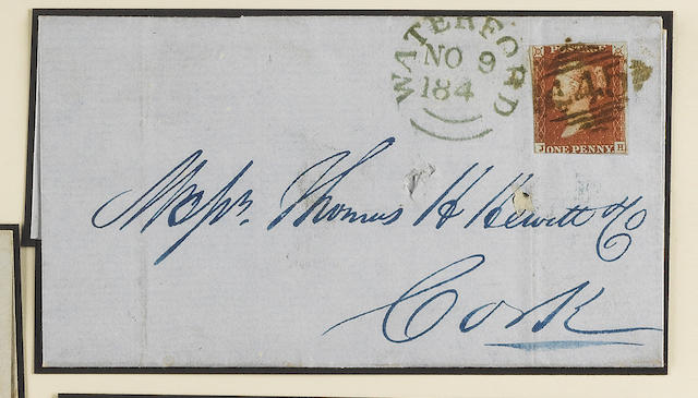 "1841 1d.: JH with two margins tied to 1848 (Nov. 8th) wrapper to Cork by ""445"" numeral of Waterford with matching datestamp alongside, filing fold just through adhesive and cover with a couple of holes, scarce. SG Spec. B1xc."