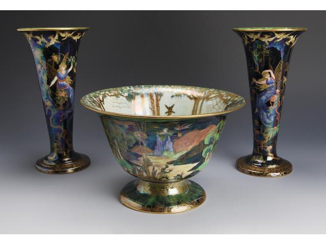 Daisy Makeig-Jones a pair of Fairyland lustre vases