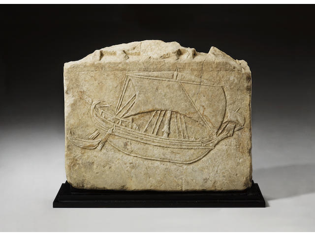 A marble relief of a Greek merchant ship