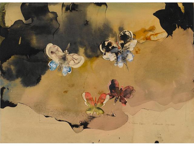 Edmund Blampied (British, 1886-1966) Butterflies, 25 x 35.5 cm.