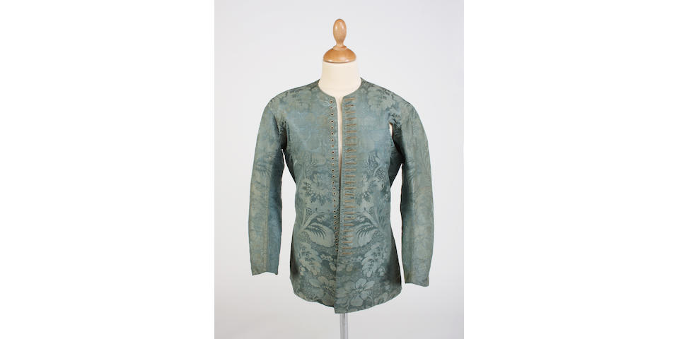 A 17th/18th century blue silk damask man's jacket