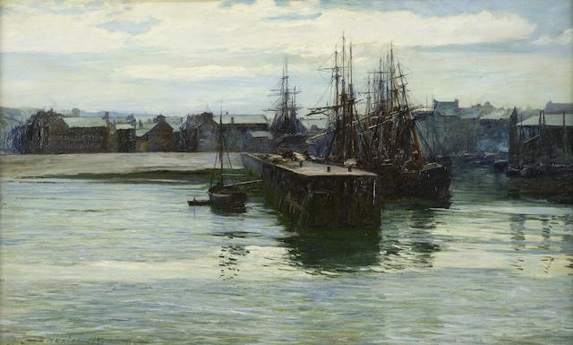 Colin Hunter, ARA RI RSW RE (British, 1841-1904) A busy harbour, possibly Wicklow