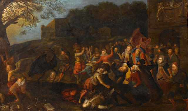 Circle of David Vinckboons (Malines 1576-1629 Amsterdam) The struggle of men and animals against tim