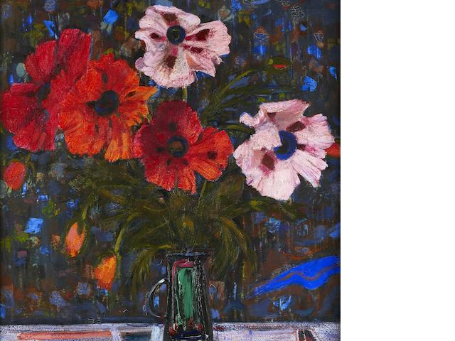 "Sir Robin Philipson, RA PRSA FRSA RSW RGI DLitt LLD (British, 1916-1992) ""Poppies on a Dark Ground"""