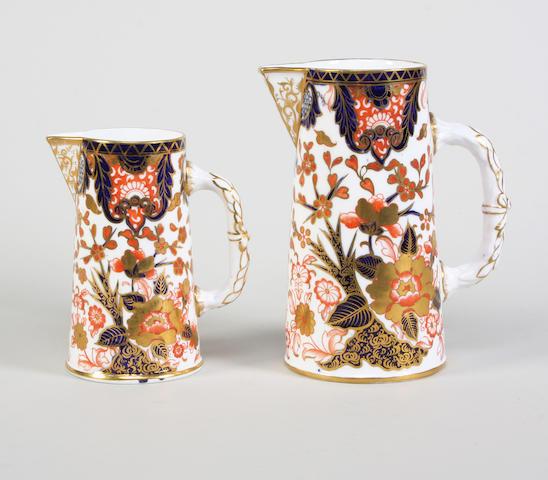 Two Derby Crown Porcelain Co jugs Circa 1884