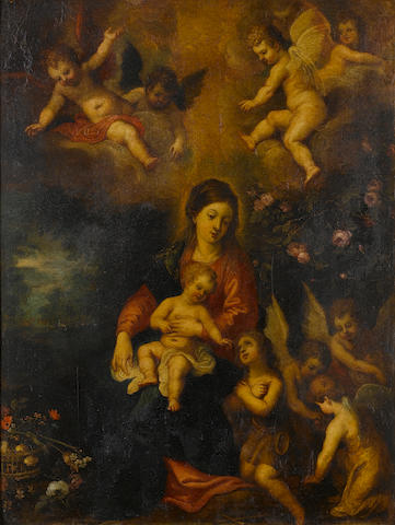 Circle of Hendrik van Balen the Elder (Antwerp 1575-1632) The Virgin and Child surrounded by angels