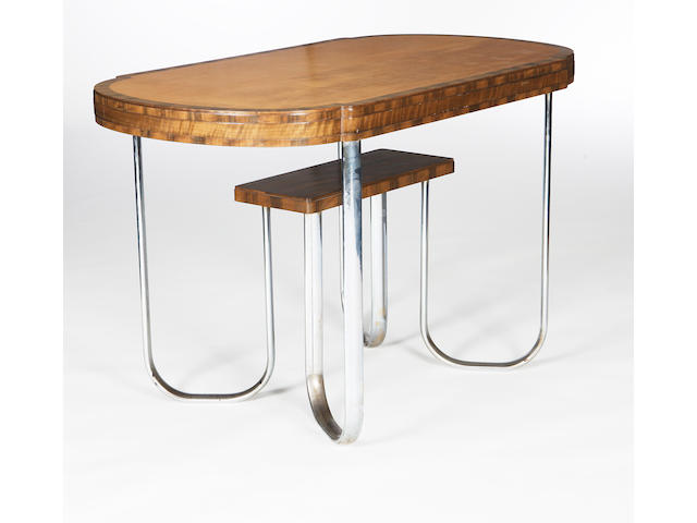 A walnut and sycamore table Ambrose heal, circa 1935.