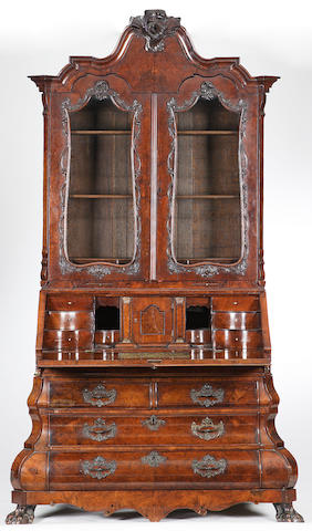 An early 19th century Dutch walnut bureau bookcase