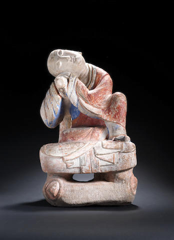 A stone carving of a sleeping luohan Song Dynasty