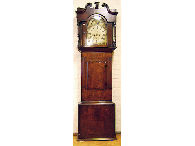 A mahogany-cased eight-day painted dial longcase clock with moon phase, mid-19th Century W. Rigby of Leigh