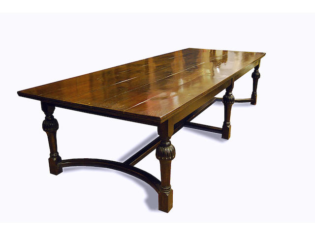 An oak 'refectory'-style dining table, late 20th Century
