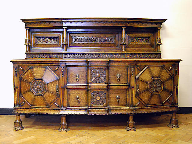 A large carved oak sideboard, early 20th Century