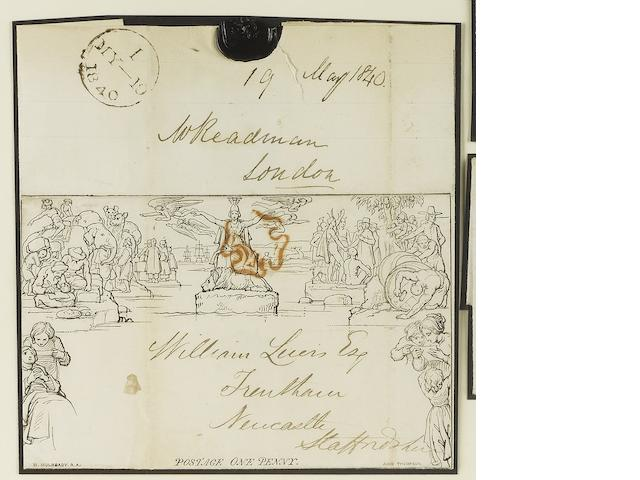 "A mint and used collection in mixed condition contained in three albums, in boxes and loose contained in two large cartons, including Q.V. with values to 5/- (2), 1840 One Penny Mulready used from London to Newcastle with ""MY-19 1840"" backstamp, 1840 1d. (6), 1840 2d. (2), line engraved and surface printed, K.ED.VII to £1, K.GV. Seahorses to 10/-(3), K.GVI. values to £1 (2), Q.EII. with definitives and commemoratives including phosphor issues, postage dues, regionals, fiscals, etc., also a two v"
