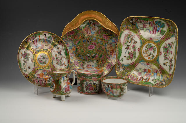 A large quantity of famille rose Canton export wares 19th century