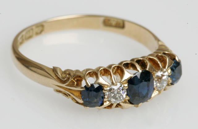 An early 20th century sapphire and diamond five-stone ring