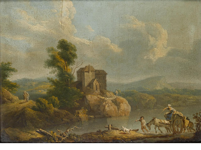 Circle of Philip James de Loutherbourg (Basel 1740-1812 Chiswick) A river landscape with a horse and cart foundering on a country path; and A wooded landscape 29 x 40.4 cm. (11 3/8 x 15 7/8 in.) (2)