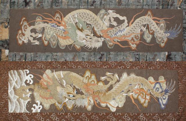 A near pair of Japanese silk wall hangings