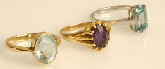 A blue zircon single-stone ring