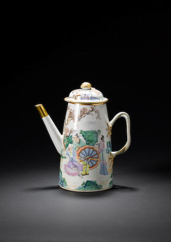 A famille rose conical coffee pot and cover Late Qianlong/Jiaqing
