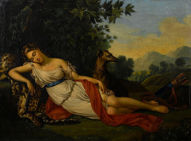 Attributed to Elisa de Gamond (active Brussels circa 1837) Diana the Huntress and her dog resting in