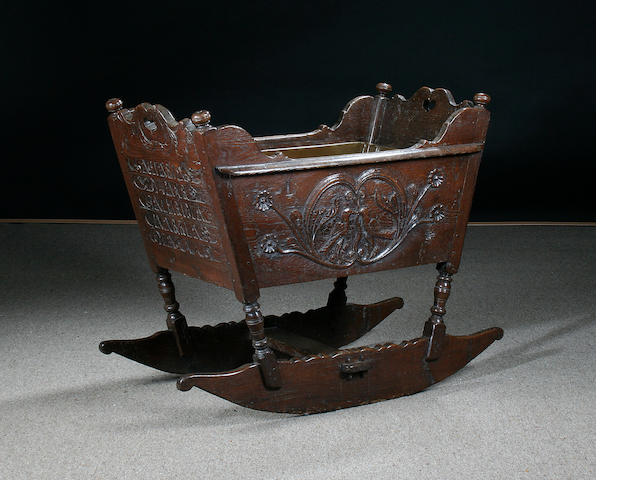 An 18th century oak cradle