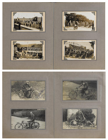Jock Porter - two albums of Isle of Man TT photographs and postcards, dating from 1921 onwards, formerly the property of the first Scotsman to win the TT,