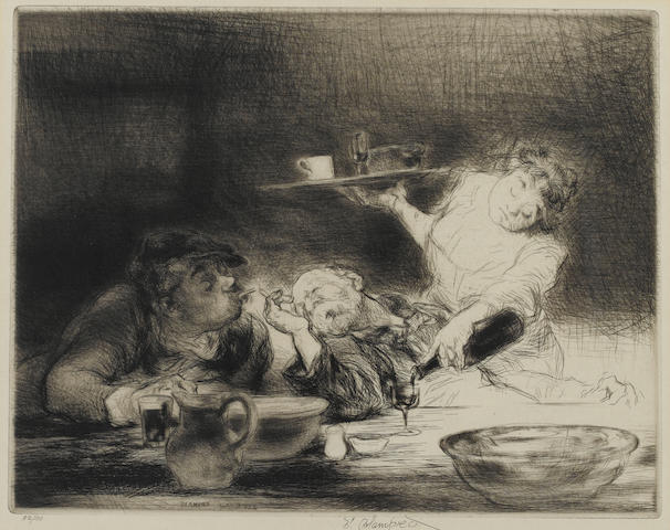 Edmund Blampied (British, 1886-1966) Vin Rouge Drypoint, 1932-33, on wove, signed and numbered 52/10