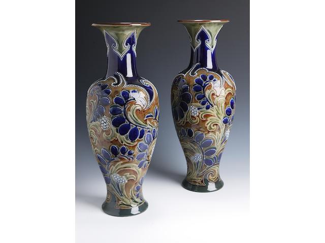 Eliza Simmance A pair of Doulton Lambeth stoneware vases