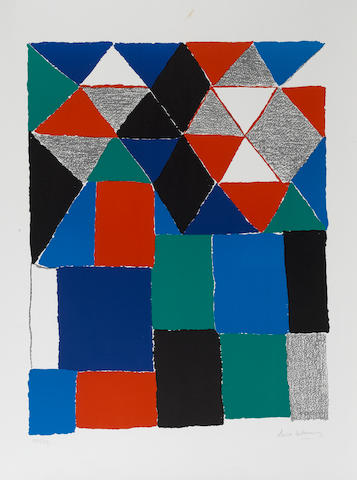 Sonia Delaunay (French, 1885-1979) Scottisch Lithograph, printed in colours on watermarked Arches, s