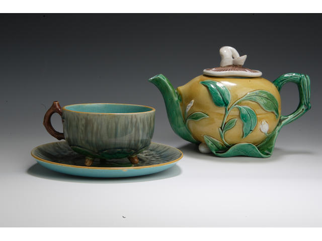 A Minton majolica gourd shaped teapot and cover  19th century