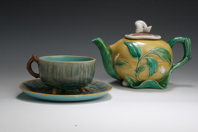 A Minton Majolica cup and saucer 19th century