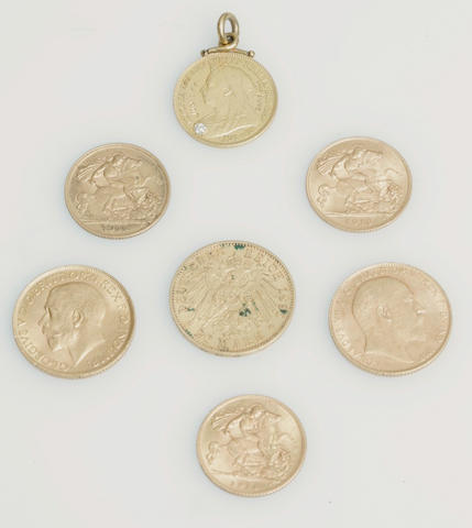 A collection of coins including sovereigns  Comprising two sovereigns dated for 1909 and 1913, three half sovereigns dated for 1911, 1913 and 1914, a twenty mark piece and a half sovereign pendant