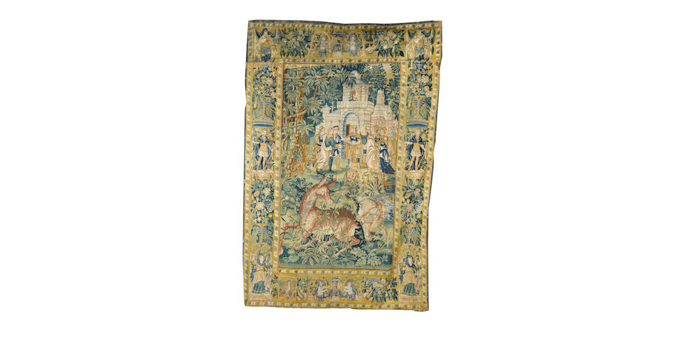 A Flemish mythological gamepark tapestry Audenarde, circa 1560-1590 8 ft 10 in x 5 ft 11 in (269 x 180 cm) reduced in size, some reweave and restoration
