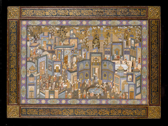 A large painting entitled The Call to Prayer, depicting scenes of city life, signed by Hajji Mirza Husain al-Mussavar al-Maleki Persia, Isfahan, dated AH 1349/AD 1930