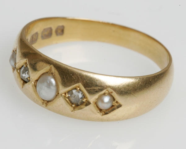 A Victorian pearl and diamond ring, Birmingham 1884