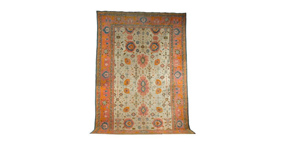 An Ushak carpet West Anatolia, 26 ft 6 in x 14 ft 1 in (808 x 429 cm) reduced in size
