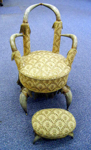 A Victorian cow horn chair of unusual form