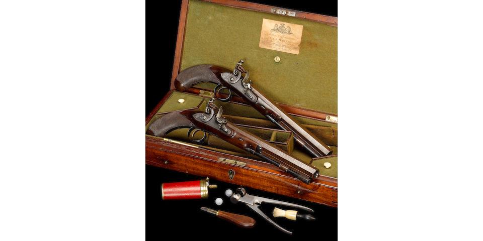 A Rare Cased Pair Of 25-Bore Flintlock Duelling Pistols
