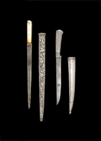 An Ottoman ivory-hilted steel Dagger (kard) with embossed silver Scabbard Turkey, 16th/17th Century