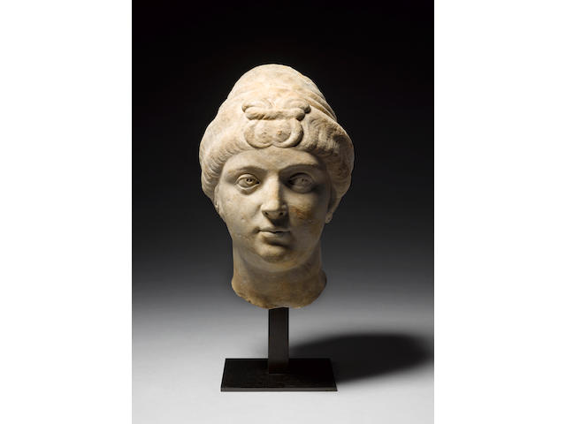 A Roman marble portrait head of the Empress Faustina the Elder