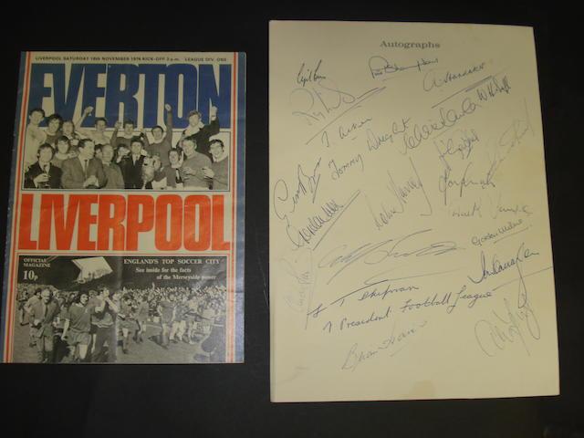 Liverpool v Everton signed Gala Dinner menu