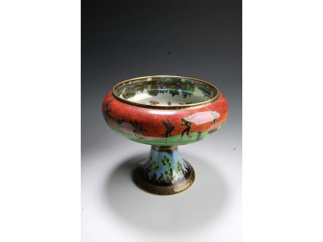 Daisy Makeig-Jones a Wedgwood Flame Fairyland Lustre footed bowl