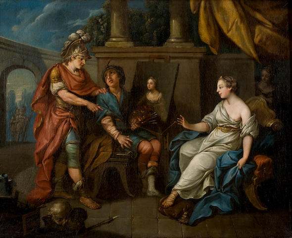 French School, (18th century) Alexander the Great visiting Apelles' atelier 64 x 81 cm.