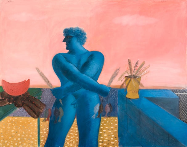 Alecos Fassianos (Greek, born 1935) The glorified man of the beach/The courtyard wall 200 x 251 cm.