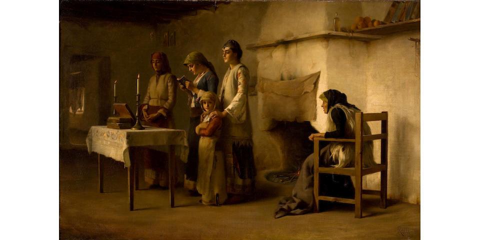 Théodore Jacques Ralli (Greek, 1852-1909) Praying before the communion at Megara 60.4 x 93.4 cm.