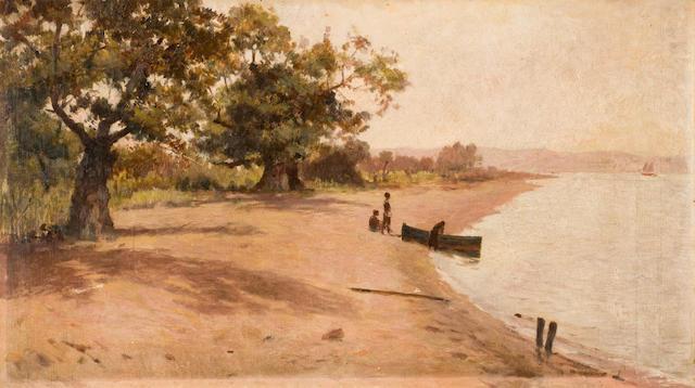 Polychronis Lembessis (Greek, 1849-1913) By the beach, Salamina