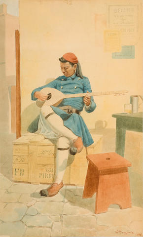 Emilios Prossalentis (Greek, 1859-1926) The bouzouki player 41 x 25 cm.