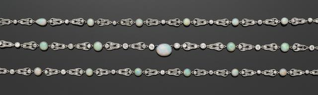 A Belle Époque opal and diamond necklace
