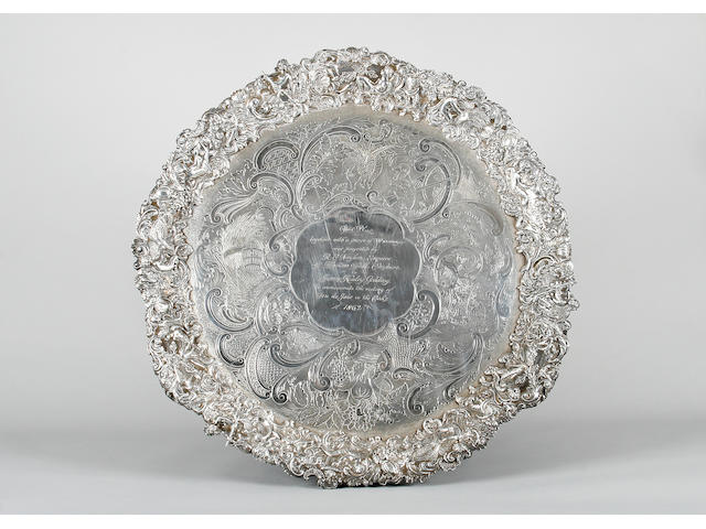 A George IV cast rim silver salver presented to the trainer of 'Feu de Joie' the 1862 Oaks Winner