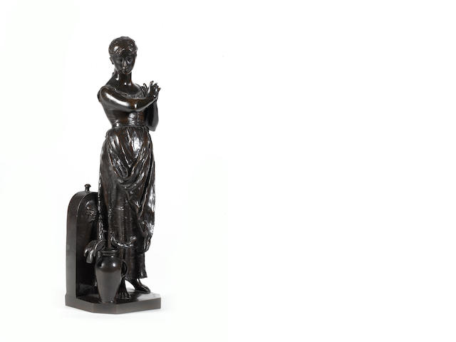 Alfred Boucher (French, 1850-1934): A late 19th century bronze figural group of a girl with an urn a